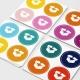 Stickers fond blanc personnalisable découpe ronde