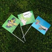 Drapeaux avec manche en papier laminé impression recto verso