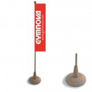 Table flags on wooden base