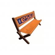 Transat banc publicitaire fond orange et marquage logo
