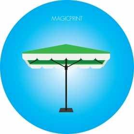Parasol carré publicitaire vert : 2 mètres
