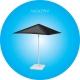 Parasol carré pubicitaire vert : 2,50 mètres