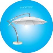 Parasol déporté publicitaire blanc rond 4,2 mètres