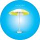 Parasol rond publicitaire marquage bleu 1,80 mètres