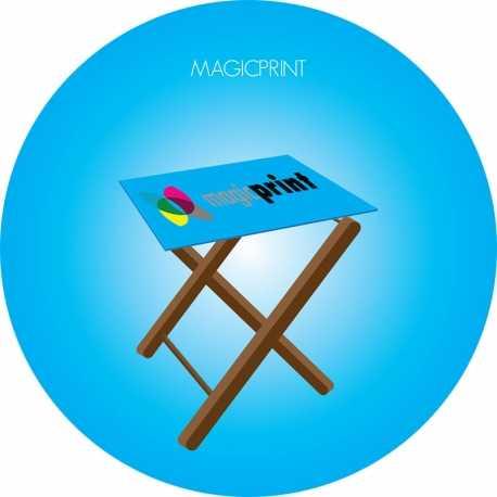 Table pliable imprimée publicitaire fond bleu et logo
