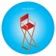 Chaise haute de directeur publicitaire - marquage quadrichromie