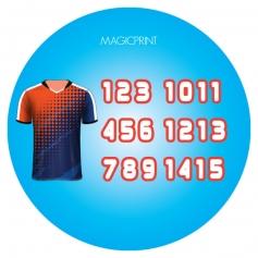 Numéros en transferts Textile pour transfer publicitaire et personnalisable