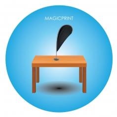 Drapeau publicitaire de table avec mat aluminium